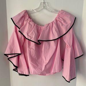 Zara Basic off shoulder top pink & black trim sz L
